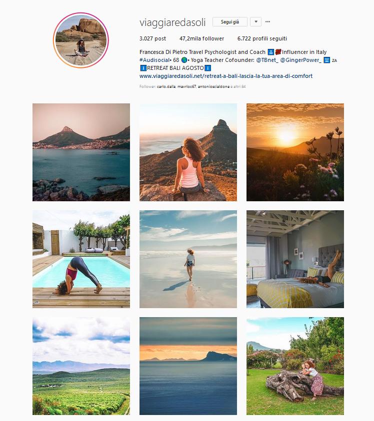 instagram viaggiare da soli